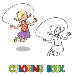 Girl jumps with rope Coloring book vector
