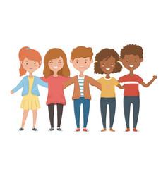 Girls and boys friendship design vector