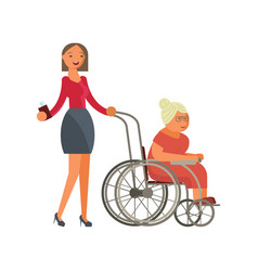 grandmother in wheelchair vector image