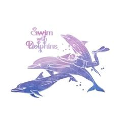 Graphic scuba diver riding the dolphin vector