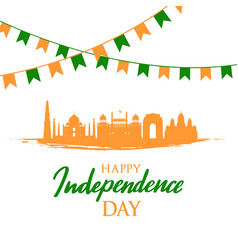 greeting card with indian landmarks independence vector image
