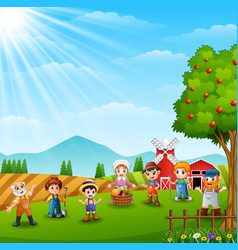 group farmers and gardener at the farm vector image