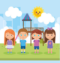 group of little kids in the park characters vector image