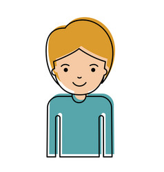 Half body guy with short hair in watercolor vector