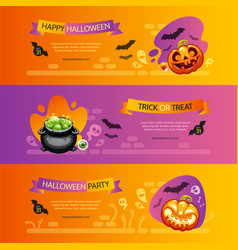 halloween horizontal banners colorful set vector image