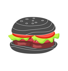 hamburger with fresh tomatoes and lettuce leaf vector image