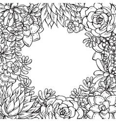 Hand drawn succulent plants vector