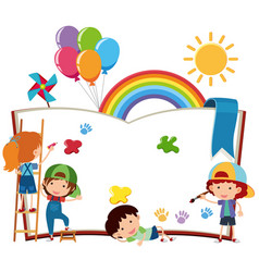 Happy children writing on blank book vector