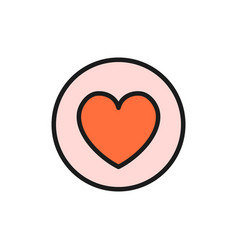 heart in circle valentine day flat color icon vector image