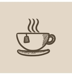 Hot tea in cup sketch icon vector