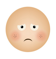 Human face emoticon sad expression vector