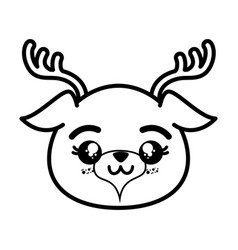 isolated cute deer face vector image