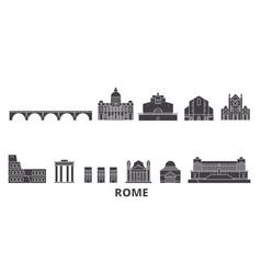 Italy rome flat travel skyline set italy rome vector