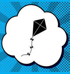 kite sign black icon in bubble on blue vector image
