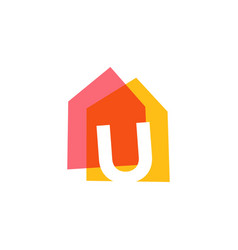 letter u house home overlapping color logo icon vector image