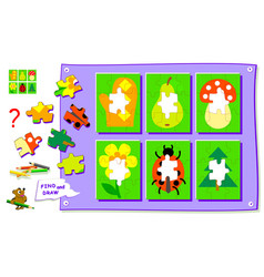 Logic puzzle game for kids coloring book need to vector