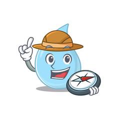 Mascot design raindrop explorer with a compass vector