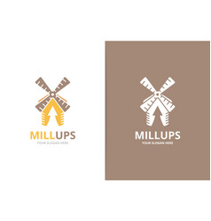 mill and arrow up logo combination unique vector image