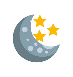 natural satellite moon with stars vector image