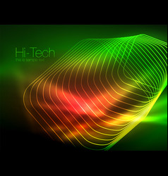 Neon glowing outline squares in dark vector