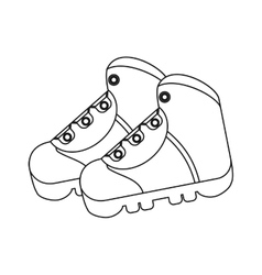 Outline boots shoes equipment adventure camping vector