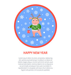 pig in deer horns and knitted sweater new year vector image