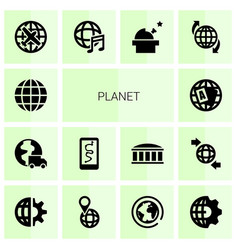 planet icons vector image