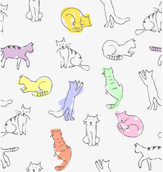 playing cats drawing vector image