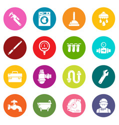 Plumber symbols icons set colorful circles vector