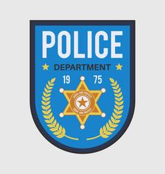 Policeman badge police security blue medallion vector