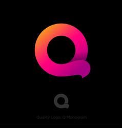 q logo gradient ribbon origami monogram ui web vector image