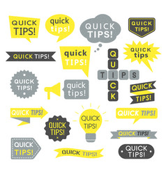 Quick tips helpful tricks and suggestions logos vector