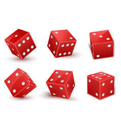 red dice with number dots from one to six at vector image