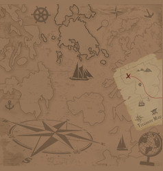 retro style treasure map background vector image