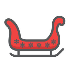 santa sleigh filled outline icon new year vector image