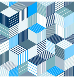 Seamless cubes background lined boxes repeating vector
