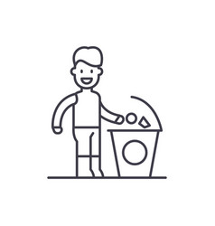 separate trash line icon concept separate trash vector image