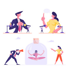set male and female business people performing vector image