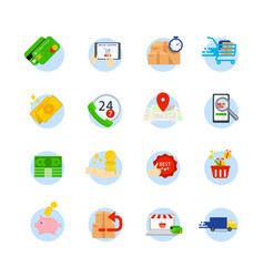 set of e-commerce flat icons icons as shop vector image