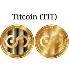 Set of physical golden coin titcoin tit vector