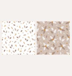 Set two christmas botanical seamless patterns vector