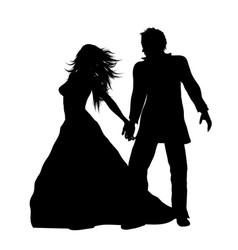 silhouette a bride and groom vector image
