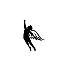 Silhouette angel man winged man isolated vector