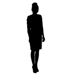 Silhoutte of standing woman in short dress vector