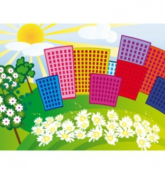 solar city among the flowers vector image