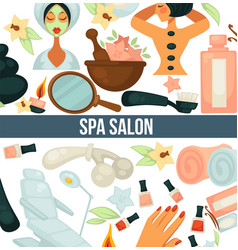 spa salon poster with text and relaxing woman vector image