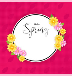 spring banner background with flower frame in vector image