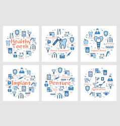 square banners with dentistry icons vector image
