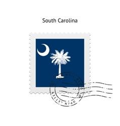 State of South Carolina flag postage stamp vector image
