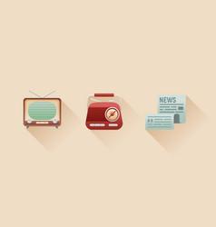 stylish retro flat icons vintage media objects vector image